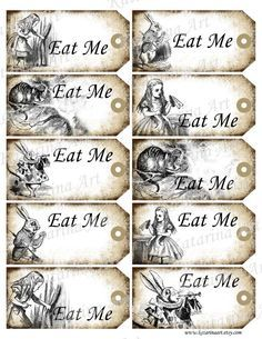 Drink me tags eat me tags instant download printable gift tags alice in wonderland printable gift hang tag whimsical eat me cheshire cat white pronofoot35fo Images