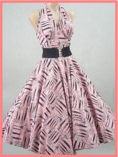 50 de Rosa la novedad Negro de impresión cabestro vestido de la falda de los vestidos del vintage de los años 1950 - Blue Velvet Vintage
