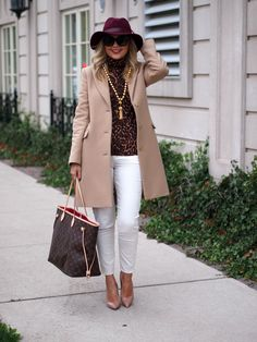 Suburban Faux-Pas: Colour Me Camel - love the white pants, nude heels, oxblood hat, and touch of leopard!
