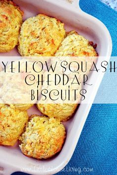 It could be a great way to preserve all the yellow squash that is coming in. Yellow Squash Cheddar Biscuit Recipe - Little House Living Good Food, Yummy Food, Tasty, Yellow Squash Recipes, Yellow Squash Bread Recipe, Breakfast Recipes With Yellow Squash, Canning Yellow Squash, Yellow Squash Muffins, Canning Squash