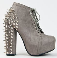 grey spiked boots | ... Grey Spike & Stud Chunky High Heel Platform Lace Up Ankle Boot Bootie