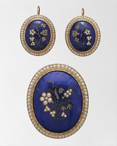 Earrings and brooch, by Edward Burr, American, ca. 1836-50. Gold, pearls, diamonds, enamel. Markings:  Imprinted inside lid of box : E.W. BURR / 573 B.WAY / NEW-YORK