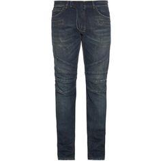 Balmain Biker distressed slim-leg jeans ($390) ❤ liked on Polyvore featuring men's fashion, men's clothing, men's jeans, blue, mens destroyed jeans, mens ripped jeans, mens blue jeans, balmain men's jeans and mens biker jeans