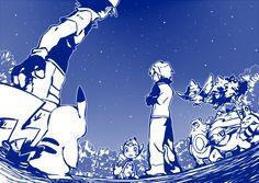 Ash/Satoshi, Pikachu, Paul/Shinji, ..., Ursaring, Murkrow, .., Elekid (by 68, Pixiv Id 2185621)