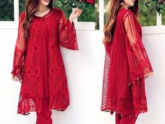 Red is a bold color that attracts attention, and the perfect red dress instantly makes a woman feel attractive and confident,latest collection of dresses in bright red color like, trending, bright red dresses for reception, dresses, and bright red semi formal dresses, Red formal dresses, red color combination dress Red Semi Formal Dress, Red Formal Dresses, Pakistani Dresses Casual, Girls Party Dress, Girls Dresses, Party Dresses, Fashion 2018, Fashion Dresses, Women's Fashion
