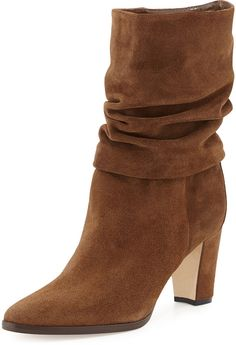 Manolo Blahnik Knight Ruched Suede Boot