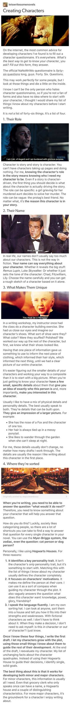 If you're having issues creating or developing characters, this is a good place to start. - Alex P.