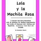 A Spanish Mini-Story/Worksheet with 20 questions for Reading Comprehension and review of Classroom Unit, Clothing and Adjectives.  Vocabulary/ Word...