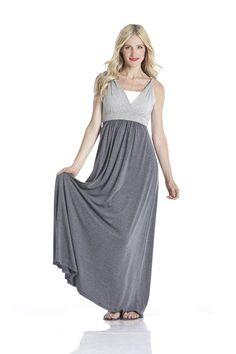 #600A-02 Maxi Tank Dress- Grey Combo #maxidress #maxi #lilacclothing #gray