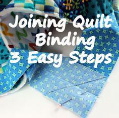 Struggle with quilt binding? Check out this tutorial for joining quilt binding in 3 easy steps! Quilting For Beginners, Sewing Projects For Beginners, Quilting Tips, Quilting Tutorials, Machine Quilting, Quilting Projects, Sewing Tutorials, Beginner Quilting, Quilting Board