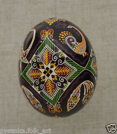 "Ukraine Pysanka by Oleh K Chicken Easter Egg Height 2 28"" in Pysanky 