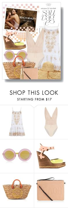 """""""Beach Beauty"""" by junglover ❤ liked on Polyvore featuring iEva, Juliet Dunn, Norma Kamali, Markus Lupfer, Dolce&Gabbana, Anya Hindmarch, polyvoreeditorial, polyvorecontest, sunniesandswimwear and springsummer2015"""