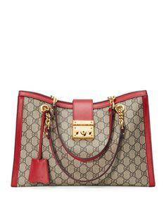 1092bbc4de88 GUCCI PADLOCK GG SUPREME CANVAS MEDIUM SHOULDER BAG, LIGHT BEIGE/RED. #gucci  #bags #shoulder bags #leather #canvas #lining #