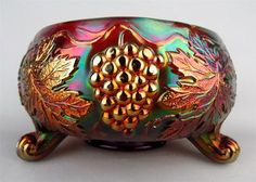 *FENTON ART GLASS ~ Vintage, Amethyst Carnival Glass Footed Fernery Rose Bowl