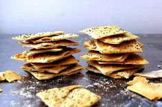 Homemade spelt crackers.  Just made these this afternoon and they were so easy!  Tasty too.