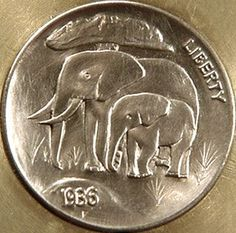 ELEPHANT coin by Cliff Kraft - Elephant and Calf