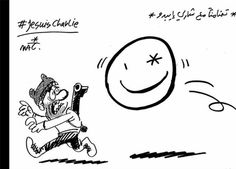 """Egypt - Makhlouf, a young cartoonist, drew two cartoons for the privately owned newspaper Al-Masry Al-Youm.   """"In support with Charlie Hebdo,"""" it says on top with the hashtag #JeSuisCharlie."""