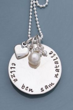 Hand Stamped Necklace from ideclarecharms.com I would love to have one after the baby is here.