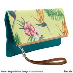 Shine - Tropical floral design Clutch Bff Gifts, Gifts For Kids, Tropical Design, Floral Design, Pouch Bag, Pouches, Mouth Mask Fashion, Small Handbags