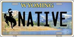 Native Wyoming Background Novelty Metal License Plate