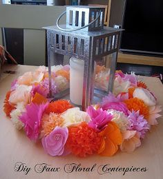 Tissue Paper Flowers centerpieces Change colors for different occasions.