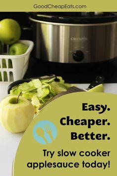 Not only is slow cooker applesauce better than anything you can buy at the store, it's also cheaper. At only 65¢ a cup, you can have a great snack ready for the kids (or you) ready to go! So easy, you may never buy a jar of applesauce again. Healthy Eating Tips, Easy Healthy Recipes, Easy Meals, Apple Recipes, Baking Recipes, Homemade Applesauce, Slow Cooker Recipes, Frugal, Crockpot