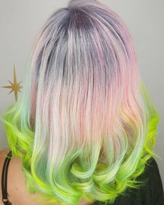 Light+Pastel+Pink+Hair+With+Lime+Dip+Dye