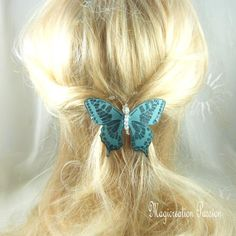 barrette française 6 cm papillon soie turquoise pailleté, perles transparentes,collection Maéva,coiffure romantique,printemps,made in France