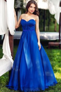 Only 120$ acces to the site to see details LUCLUC Strapless Blue Silk Brodery Maxi Dress