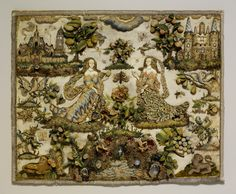 Two Ladies Personifying Taste and Touch (?) ~ third quarter 17th century ~ British ~ Silk satin worked with silk and metal thread, seed pearls, agate, carnelian, coral, rock crystal, glass beads, mica; detached buttonhole variations, tent, satin, long-and-short, seed, rococo, single knots, laid, and couching stitches ~ The Metropolitan Museum of Art