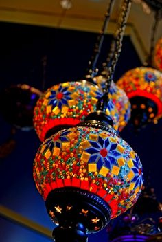 These aren't actually hot air balloons, but are some type of stained glass or painted paper lanterns. I thought they were just beautiful!