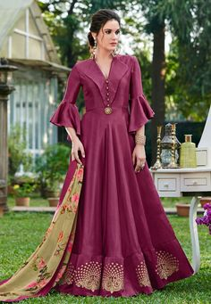 e9d1652d79b Shop Purple Cotton Gown With Frill Sleeve 162681 online at best price from  vast collection of