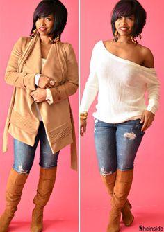 Camel Lapel Long Sleeve Belt Woolen Coat - Sheinside.com