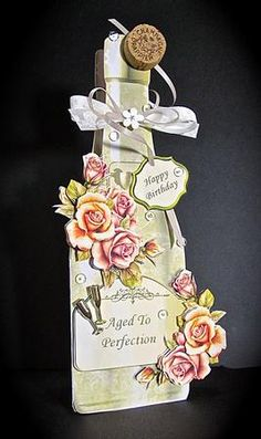 Golden Roses Bottle Shaped Card on Craftsuprint designed by Robyn Cockburn - made by Cynthia Massey - http://www.craftsuprint.com/card-making/mini-kits/mini-kits-floral/?&designer=123&r=796943