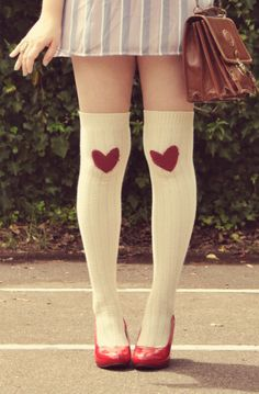 Heart Adorned Knee Socks