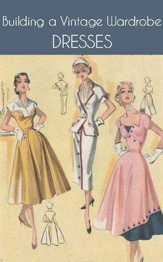9082dde6d5 Building a Vintage Wardrobe Vintage Ruhák, 1950 Es Évekbeli Ruhák,  Divatillusztrációk, Modellkedés,