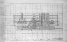 Unbuilt house for Mrs Dorothy Martin Foster. 1921. Buffalo, New York. Frank Lloyd Wright.