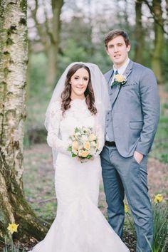 Long Sleeve Lace Dress #VinatageInspired Groom's Suit ~ Ted Baker #springwedding # daffodils
