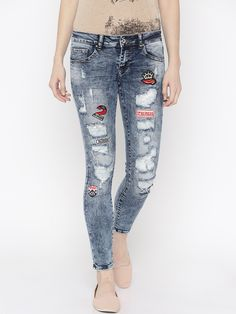Deal Jeans Blue Washed Skinny Fit Jeans #Ripped, #Blue, #Denim, #Casual