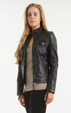 d74a2229a0c76 Womens Black Leather Biker Jacket. A superb Aniline leather with buckle  neck strap. I