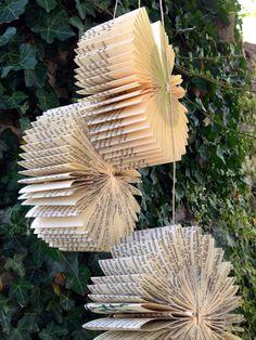 Hanging Book Bursts-Repurposed-Recycled-Reused-Hanging Paper Sculpture-Wedding Decoration-Nursery Room-Baby Shower