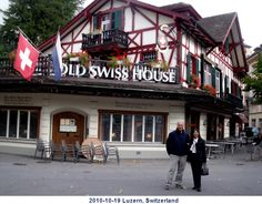 2010-10-19 Outside Swiss Old House Restaurant, Luzern, Switzerland, Duyên and Hoàng.