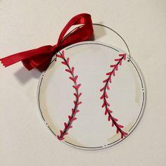 Baseball Ornament - baseball player gift -  painted ornament -  personalized ornament -  baseball coach gift -  wood -  handmade - Sports by HazelMartinDesigns on Etsy