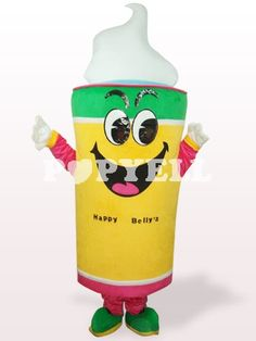 #mascotte #glace Costume Mascotte Jaune Crème Glacée en Peluche Adultes