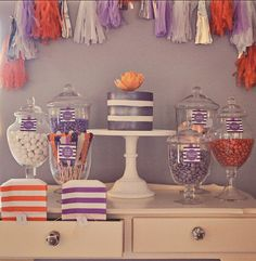 Pretty In Purple Dessert Table - Love the muted purple and orange tones