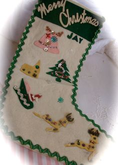 Old Sequin Felt Christmas Stocking