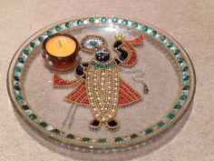 Items similar to Beautiful glass Shrinathji plate. Shrinathji is young Hindu god Krishna. on Etsy Easter Crafts, Fun Crafts, Arti Thali Decoration, Paint Color Wheel, Mandala Sketch, Janmashtami Decoration, Acrylic Rangoli, Diwali Diya, Wedding Plates