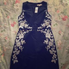 *CLOSING SALE* NWT Loft Black Dress with flowers Beautiful cotton-like summer vneck black dress with beautiful white embroidered detail from loft.  Perfect for a wedding in all seasons LOFT Dresses