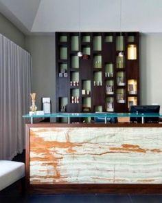 yoga reception desks | ... and Caicos Islands ) The Exhale Spa custom reception desk and shelving