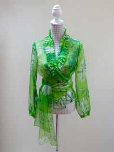Silk-Wrap-Blouse - Vintage Finds You Blouse Vintage, Vintage Tops, Silk Wrap, Wrap Blouse